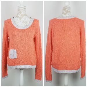 ANTHRO Yellow Bird Peach Knobby Knit Sweater Small